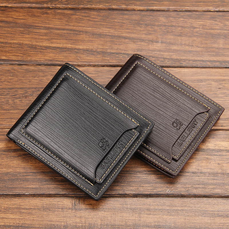 Yiwu Men Wallets Famous Brand Purses Cowhide Purses Billfold Men Wallets with Front Pocket Credit Card Holders