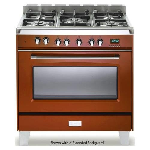 """Verona VCLFSGG365R 36"""" Classic Gas Range with 4 cu. ft. Convection Oven 5 Sealed Gas Burners Cast-Iron Grates EZ Clean Porcelain Oven Surface and Full-Width Storage Compartment in Gloss"""