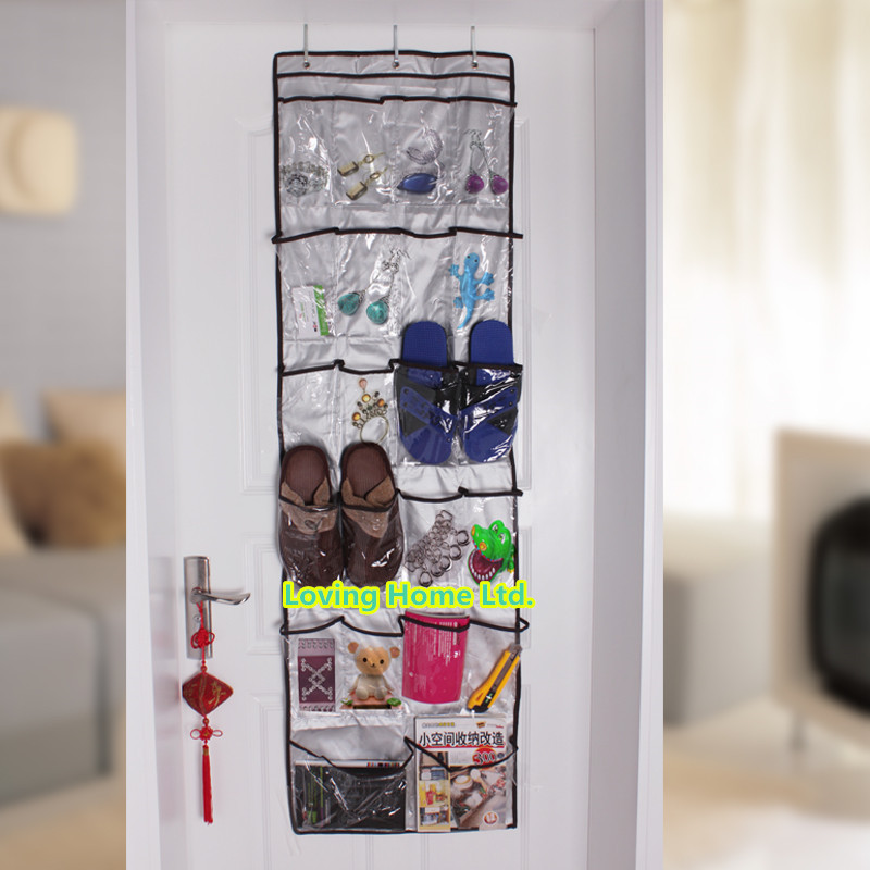 oxford fabric 22 pocket 6 layers with 3 hooks clear over the door storage shoes clothes bags. Black Bedroom Furniture Sets. Home Design Ideas