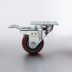 Good quality 3 inch industrial fixed PU caster wheel with brake hardware locking caster(FHJ-303/403/503)