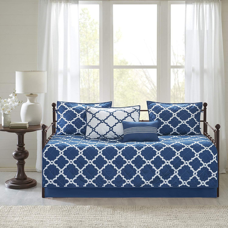 N2 6 Piece Navy Blue White Medallion Daybed Set, Geometric Trellis Ikat Jacquard Lattice Diamond Shape Pattern Day Bed Lounge Bedding Ottoman Resting Place Bedroom Bedskirt Pillows, Polyester