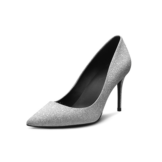 Women's point shoes lady shoes sexy wedding stilettos 100 flash silver crystal shoe diamond new 44qgr