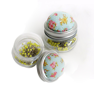 Craft sewing notions colorful 200 pcs quilting fabric pin cushion with glass bottle