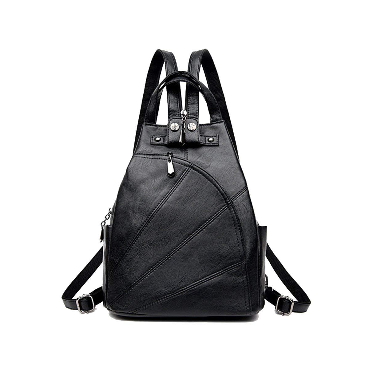 OULII PU Leather Backpack Waterproof Travel Backpack with Side Pockets for Teenage Girls Women (Black)
