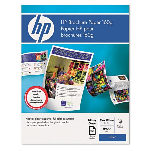 HP : Color Laser Glossy Brochure Paper, 97 Brightness, 44lb, Letter, 150 Sheets -:- Sold as 2 Packs of - 150 - / - Total of 300 Each