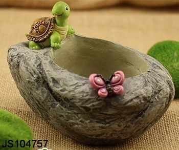 Resin Flower Pot With Tortoise Decoration For Decorating The Home