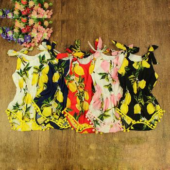 251f37a69 baby girl lemon print romper infant toddlers suspender cotton one-piece  jumpsuit