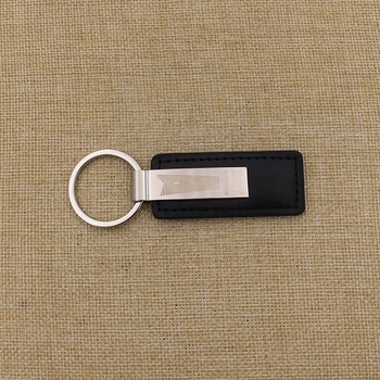 Custom black PU leather car keychain with business logo
