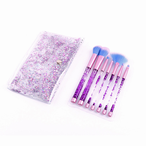 Glitter Crystal 7pcs Professional Highlighter Concealer Make Up Tool Rose Gold Portable Mermaid Makeup Brush Set