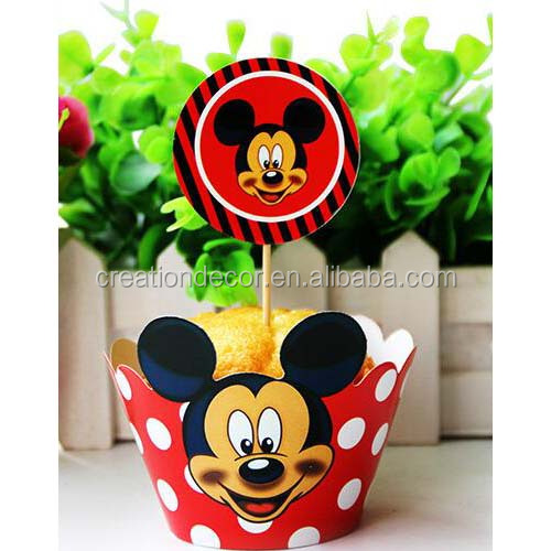 Mouse paper cupcake decorating topper with baking cups