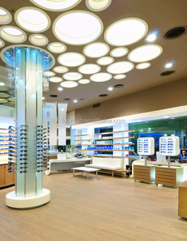 Modern Optical Shop Furniture Design With Wooden Sunglasses Display