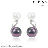 92329 XUPING ball double couple earrings,fresh water pearl earrings,indian jewellery