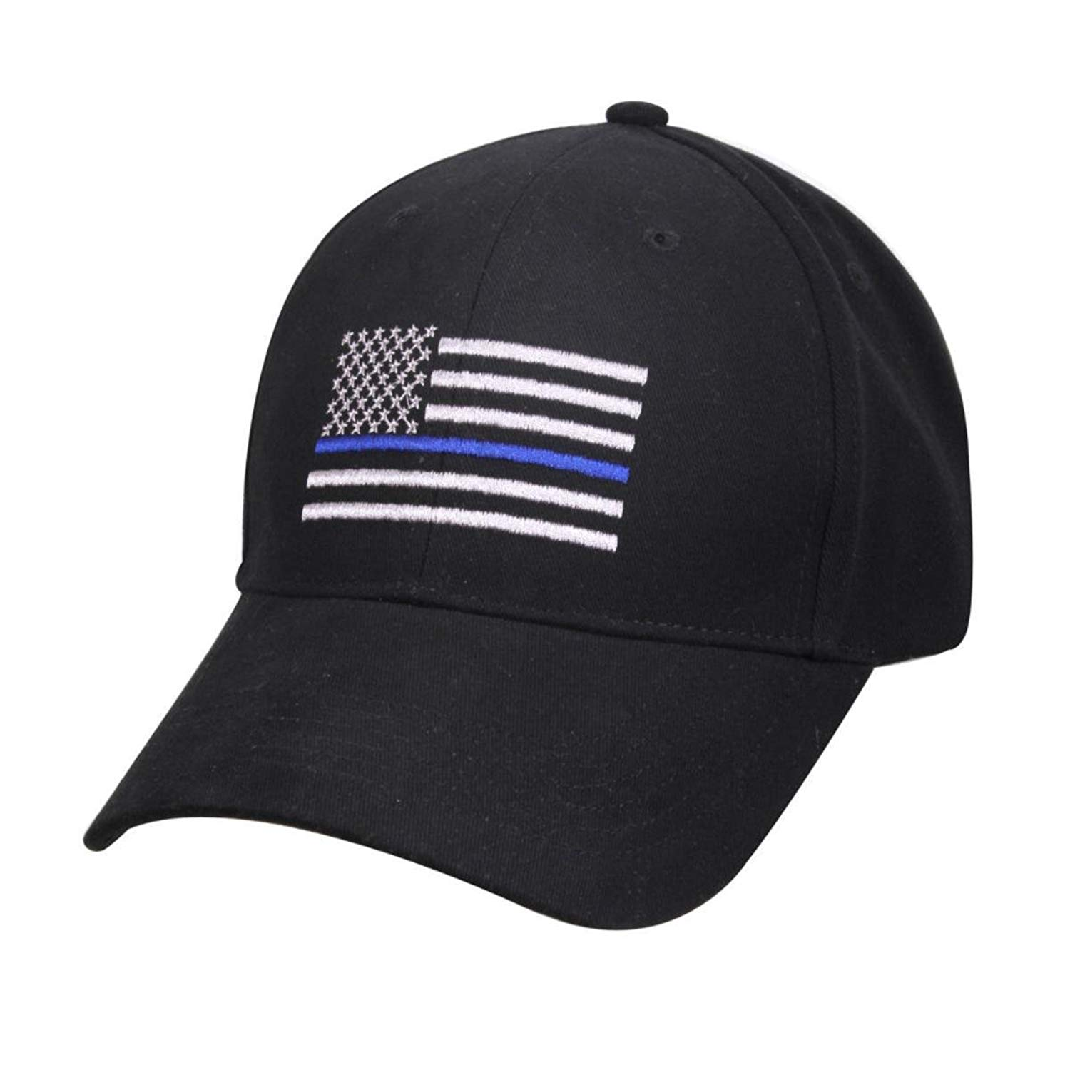 17cdba58774 Get Quotations · Lot of 6 Thin Blue Line USA Police Memorial American Black  Embroidered Cap Hat