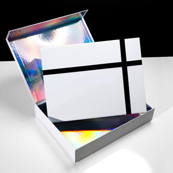 Luxury custom paper rigid magnet closure flap holographic gift magnetic box