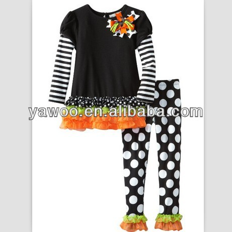 stripe top shirt authentic designer brand bulk wholesale brand designer kids clothing halloween outfit with polka ruffle pants