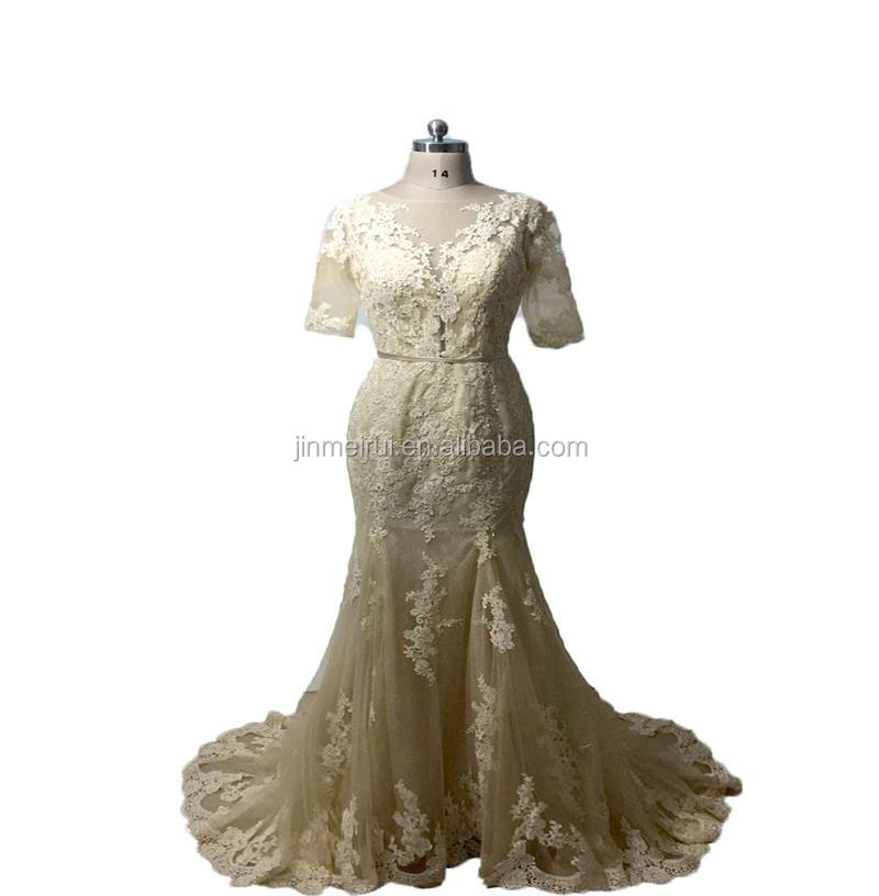 Free Shipping Modern Elegant 1/2 Sleeve Lace Floor Length Ruffle Jewel Sheath Backless Zipper Buttons Women Prom Dress
