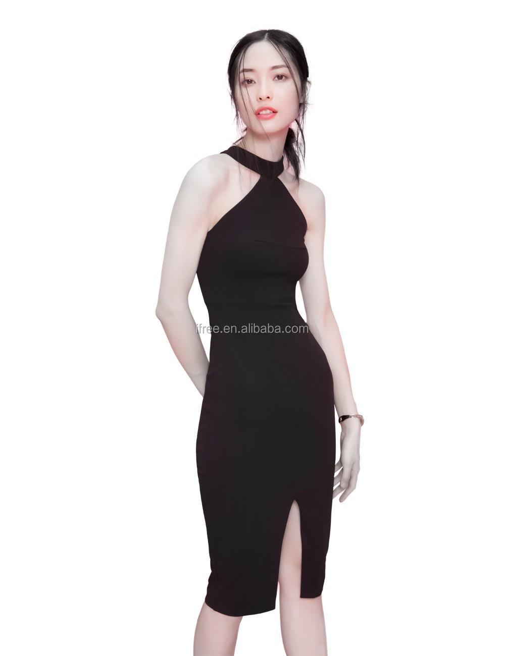 42256fb1e40 2017 verano mujer sexy noche bodycon club mostrar delgada halter hombro sin  mangas pequeño chiffon vestido
