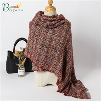 High Quality Color Grid Tie-Dye Warm Color Scarf Winter Woman