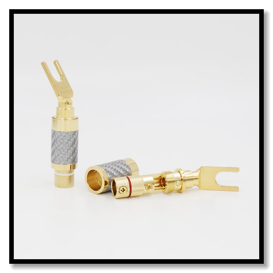Gold plated Carbon Fiber Spade Plug Speaker Cable Copper Connector HiFi