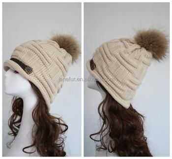 815da762d42 Nice winter hats women with fur ball Knitted Braided Crochet Beret Caps   pompon fur hats