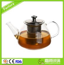 Hot selling borosilicate handblown glass teapot with stainless steel infuser