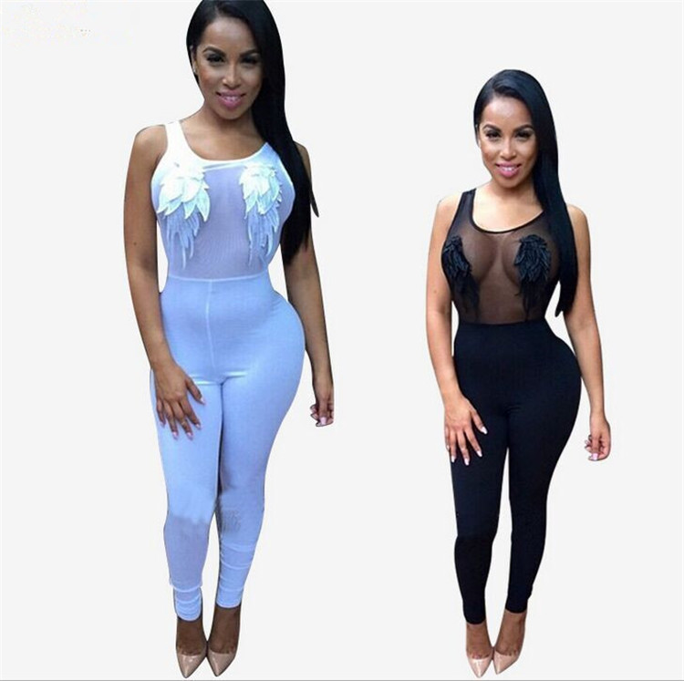 1a6f181d2f9d Get Quotations · 2015 bobycon Sexy Bodysuit Mesh Jumpsuits Perspective   backless  Sexy embroidery Rompers white Jumpsuit Pants for