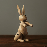 Natural wood animal carved rabbit and horse, kids room home decoration Ornaments