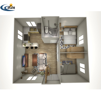 China 2 Bedroom with kitchen and bathroom large capacity prefab modular container house