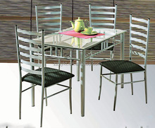 Factory price unique glass mirrored dining room table set with 4 chairs