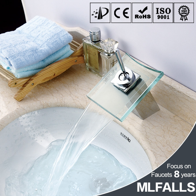 Wholesale single hole wash hand basin tap,single hanld glass waterfall basin tap,brass wash basin tap models