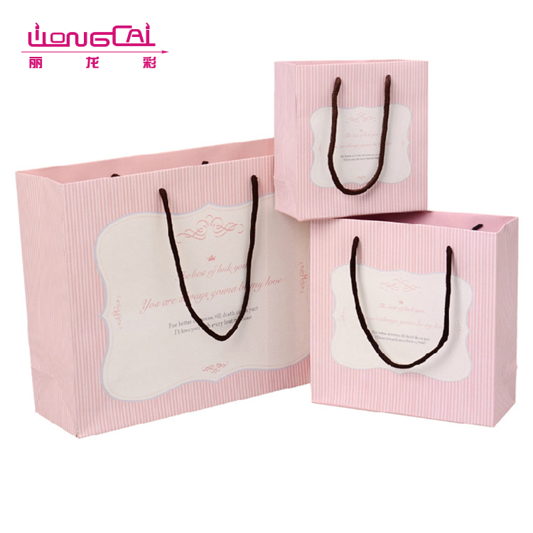 Customized high quality eco friendly recycled printed birthday wedding door gift paper bag