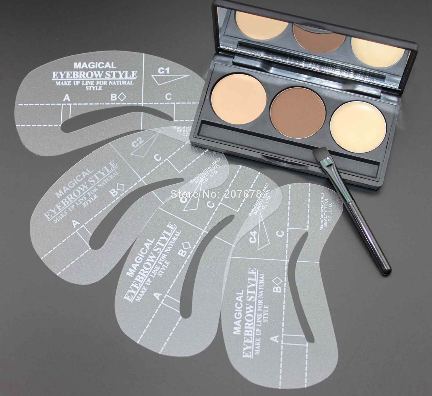 2014 NEW Eyebrow Shaping Powder Palette + 4 Stencils + Eyebrow Wax Makeup Kit