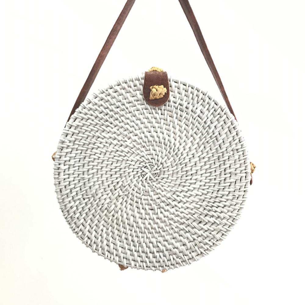 New Different color summer beach round rattan shoulderbags Women Indonesia Style Rattan Bag Bali