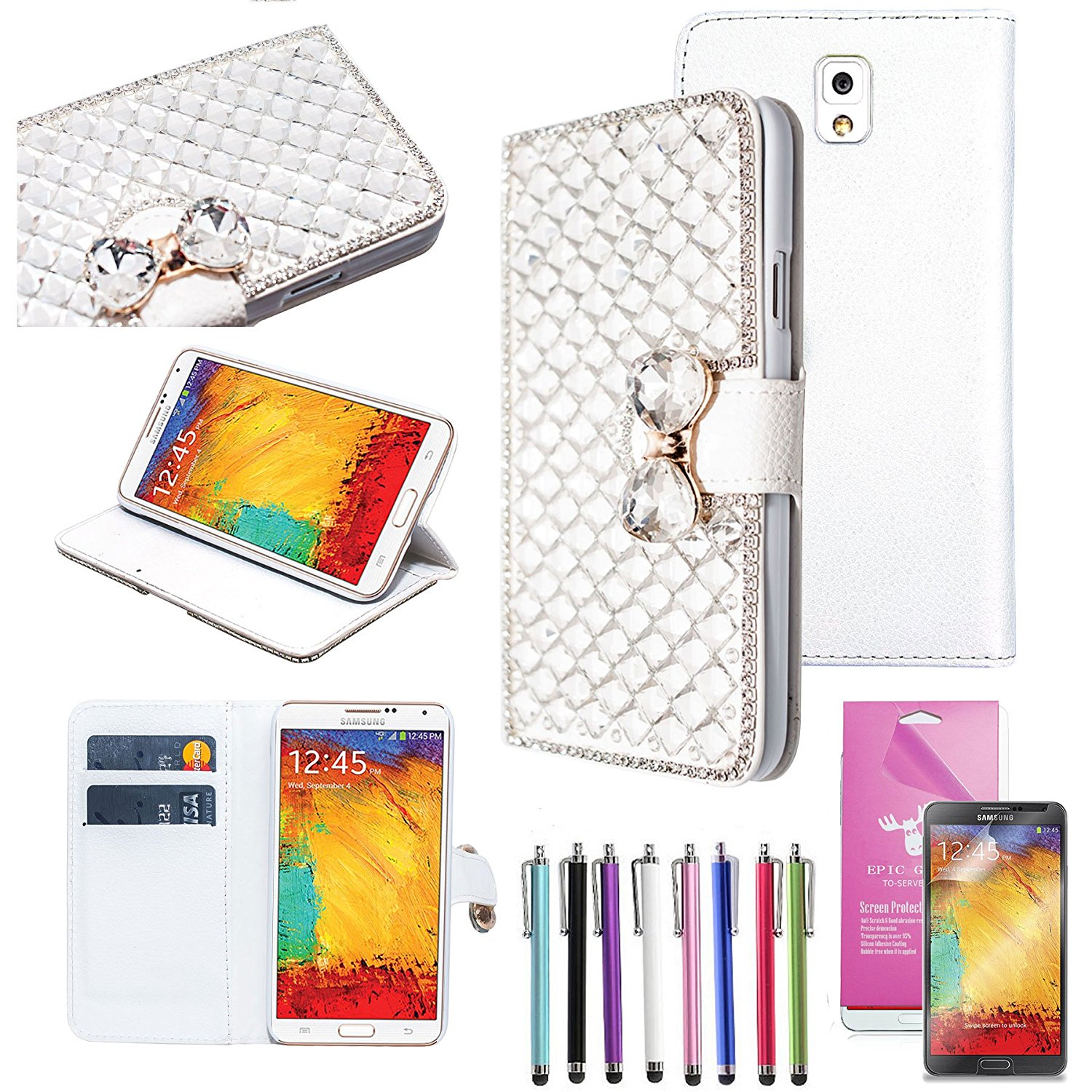 EpicGadget(TM) For Samsung Galaxy Note 3 Handmade Luxury Silver Crystal Bling Bling White PU Leather Case With Crystal Bow Knot Wallet Case Magnet Flip Cover With Credit Card Holder Pouch + Note 3 N9000 Screen Protector + 1 Stylus Pen (Random Color) (US Seller!!) (Silver)