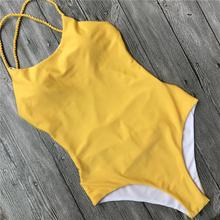 eeb1e863f8adb New Sexy Women Deep One Piece Swimsuit Backless High Cut Padded Swimsuit  Sexy Backless Swimsuit Yellow