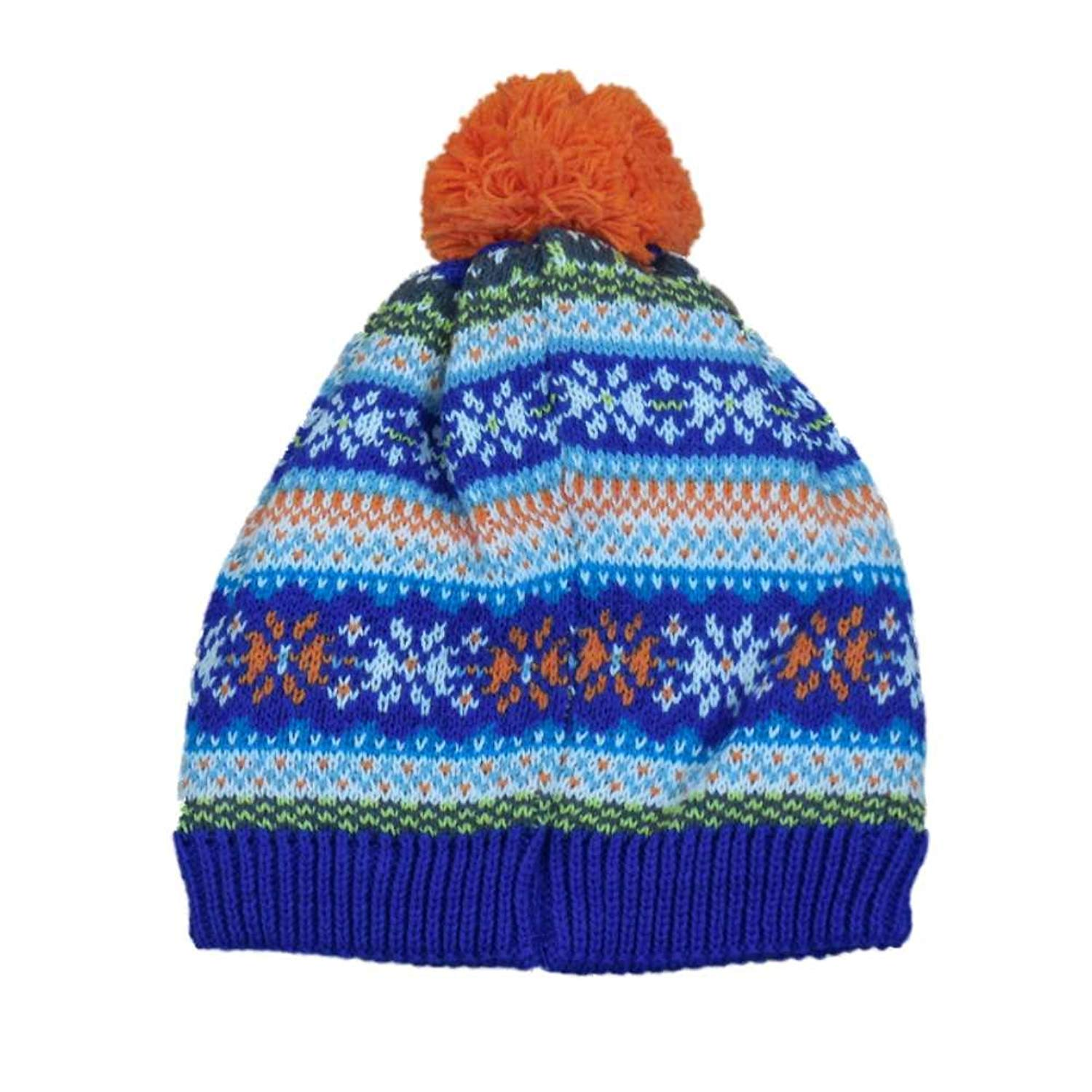 fdf3959a0ff0f1 Get Quotations · The Children's Place CP Infant Boys Girls Blue Orange  Nordic Print Beanie Pom Stocking Cap Hat