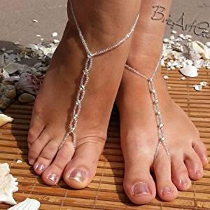 Crystal Handmade Barefoot Sandals,, Bridesmaid Gift, Jewelry Sandals,Anklet, Bridal Shoes , Pearl Barefoot Sandals