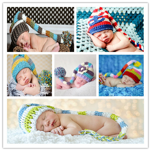 New Crochet Baby Hat Baby Christmas Stocking Hat newborn Baby Photo Prop Hat baby long tail