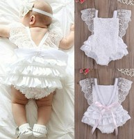 2019 top selling products new born fly sleeve lace cake ruffled new born baby clothes sets for baby girl