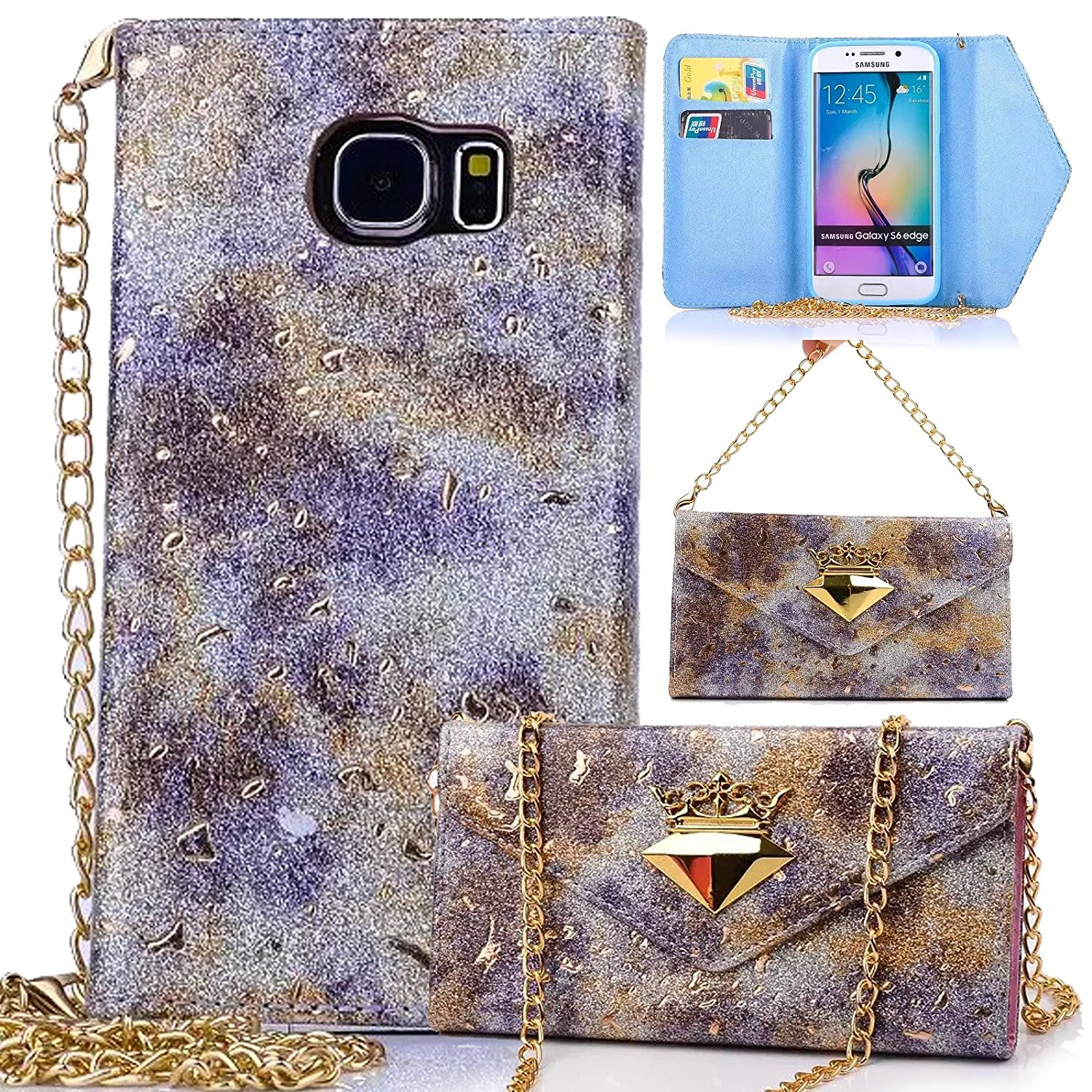 Galaxy S6 Edge Case, Dteck(TM) Luxury Crown Jewel Design Sparkle Decorate Bling Stars PU Leather Case [Card Slots & Chain Strap] [Shoulder Bag Style] Case Cover for Samsung Galaxy S6 Edge (4 Purple)