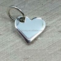 New arrival custom metal jewelry silver tiny sublimation love heart necklace pendant