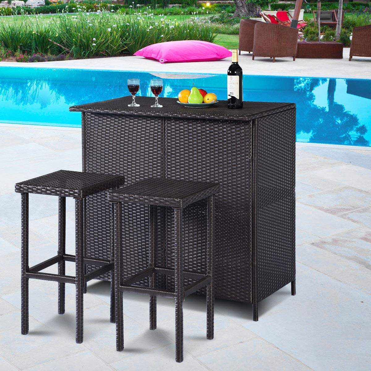 KCHEX> 3PCS Rattan Wicker Bar Set Patio Outdoor Table & 2 Stools Furniture Brown>3 pieces outdoor rattan wicker bar set, including 1 table and 2 stools. Made of rattan wicker, this furniture set looks