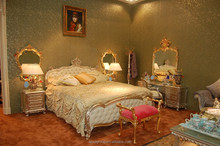 ART2477- Luxury French palace bedroom furniture / silver leaf hand carved bedroom furniture/ antique leather home bed