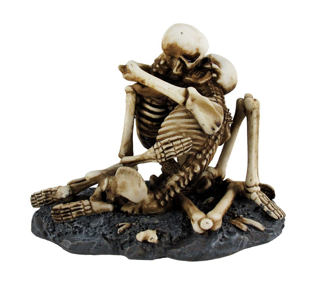 7.25 Inch Love Never Dies Skeleton Make Out Couple Statue Figurine