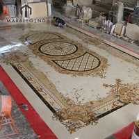 Kuwait Private Villa project decoration marble waterjet medallion flooring border designs