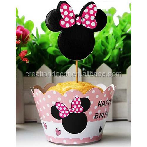 Pinky Minnie cupcake wrappers toppers for kids birthday party baby shower