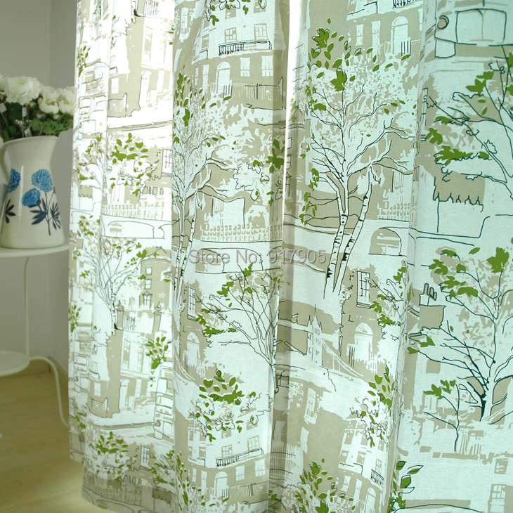 Modern-Green-Tree-Curtains-Elegant-French-Country-Home