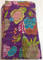 Vintage Kantha Quilt Handmade Indian Cotton Throw Twin Blanket Bedding Bedspread