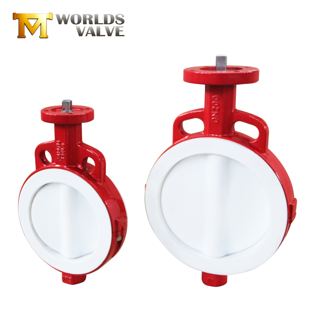 1/4/6/8/10/24/42 inch PTFE lining wafer bare shaft butterfly <strong>valve</strong> price