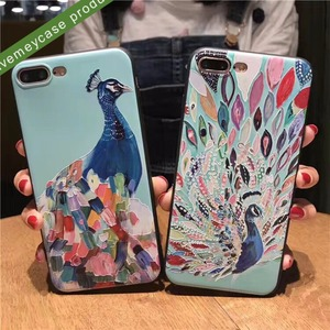 new phone accessories soft tpu black corner beauty embossed colorful peacock pattern back phone case for iphone